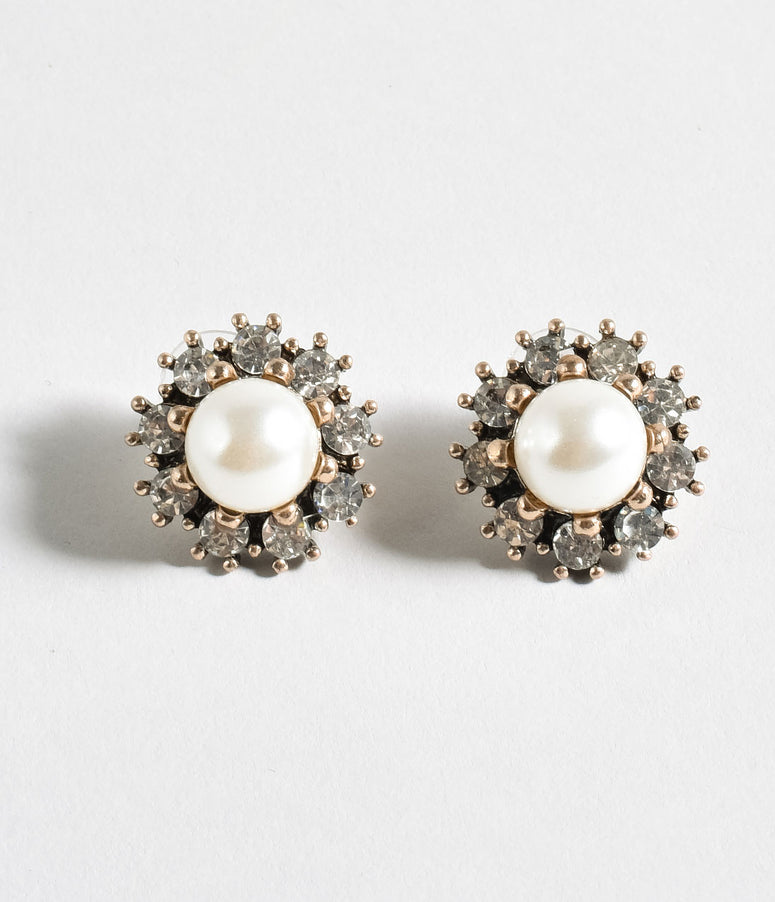 Ivory Pearl & Silver Rhinestone Stud Earrings