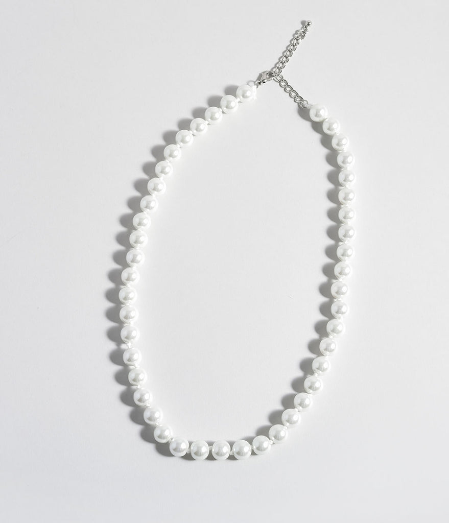 Ivory Pearl Single Row Beaded Necklace
