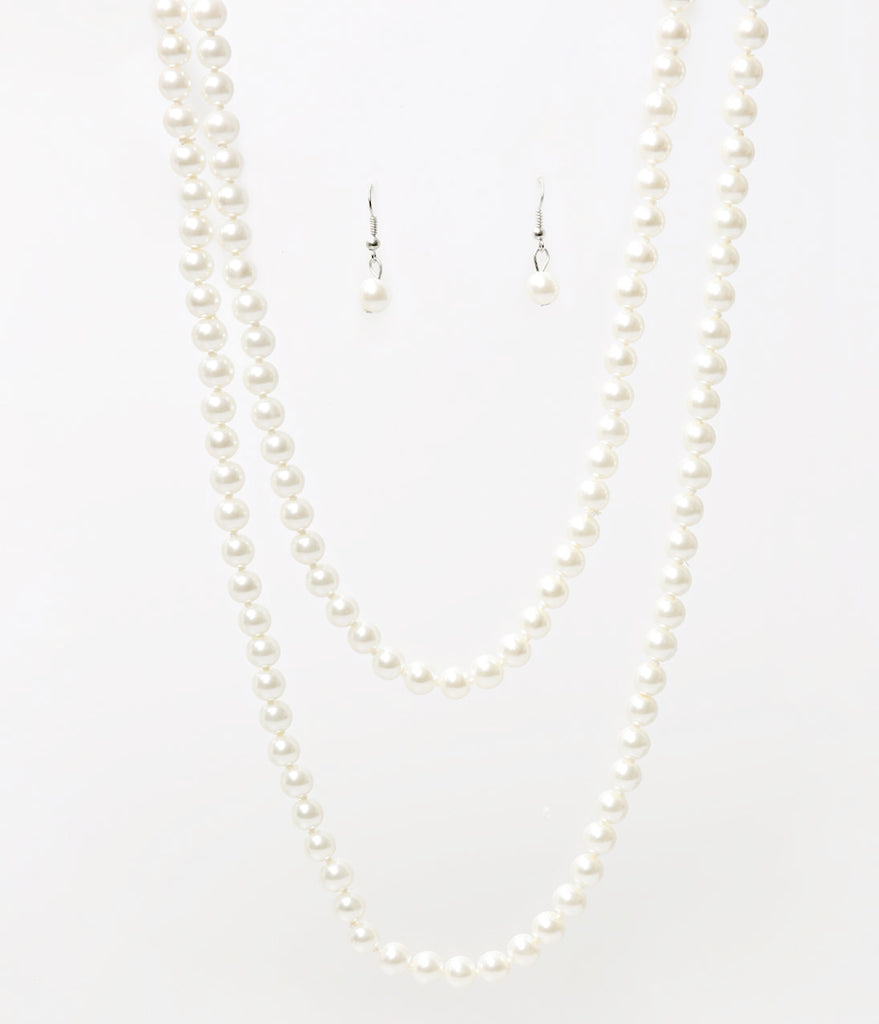 Ivory Pearl Single Row Knotted Necklace & Earring Set