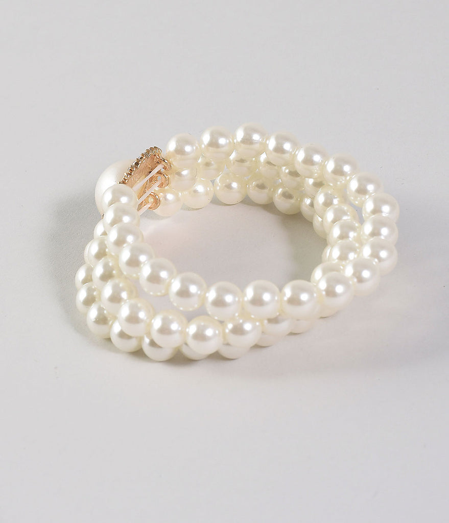 Ivory Pearl Three Strand Stretch Bracelet