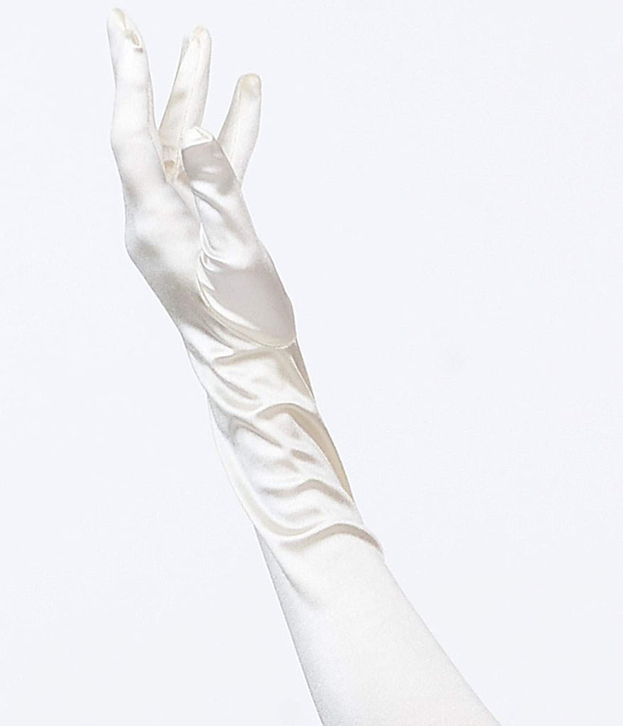 Ivory Satin 23'' Opera Length Gloves