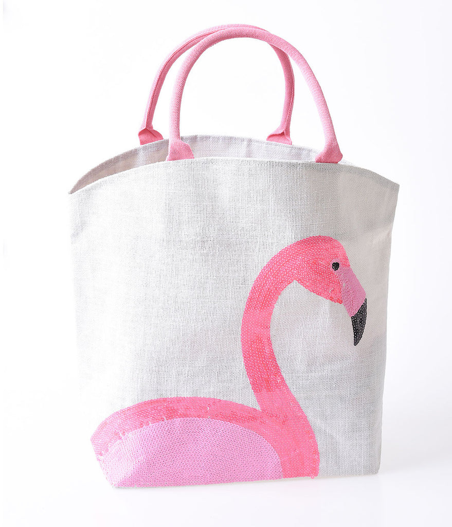 Ivory Woven Jute & Pink Sequin Flamingo Tote Bag