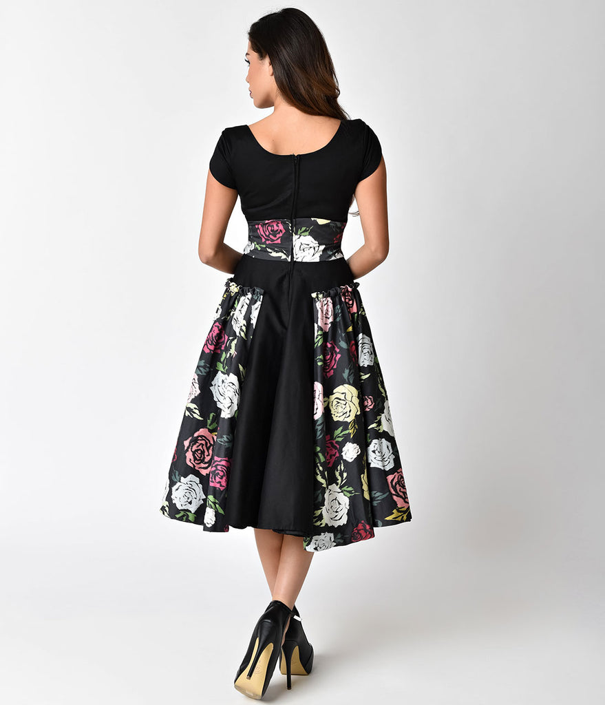 Janie Bryant For Unique Vintage 1950s Black & Multi Rose Birdie Swing Dress