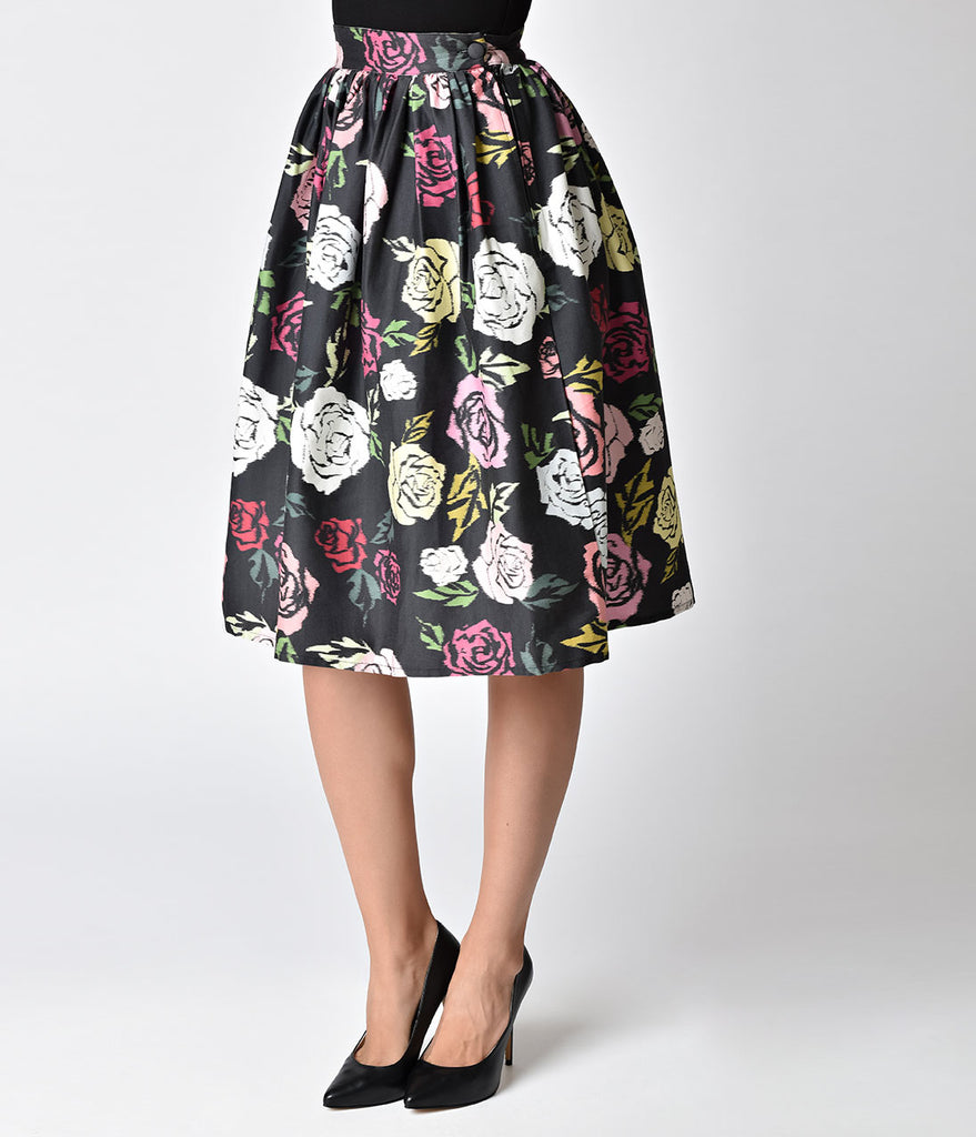 Janie Bryant For Unique Vintage 1950s Style Black & Multicolor Roses High Waist Swing Skirt