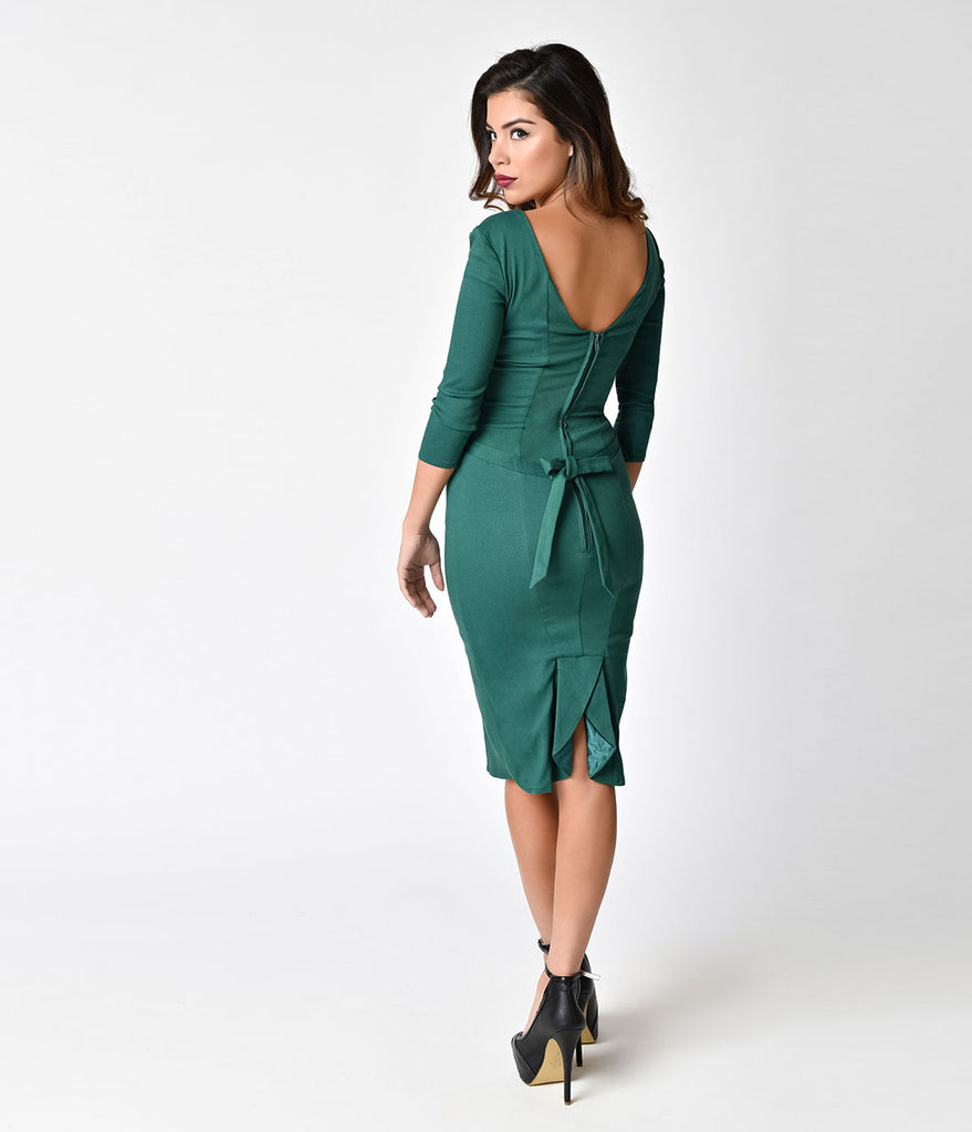 Janie Bryant For Unique Vintage 1960s Emerald Sleeved Joanie Wiggle Dress
