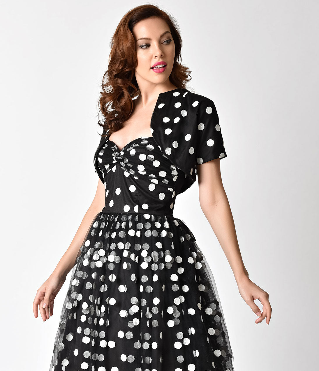 1950s Jackets and Coats | Swing, Pin Up, Rockabilly Janie Bryant For Unique Vintage Black  White Dot Gertie Bolero $36.00 AT vintagedancer.com