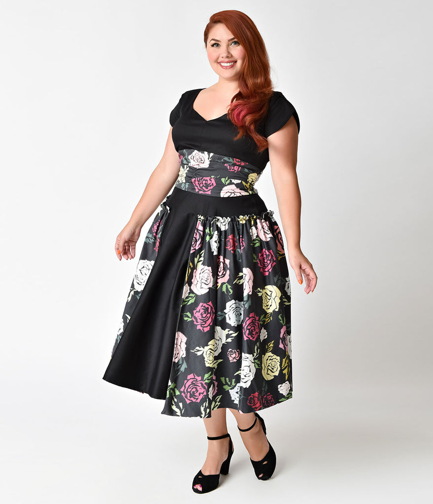 Janie Bryant For Unique Vintage Plus Size 1950s Black & Multi Rose Birdie Swing Dress