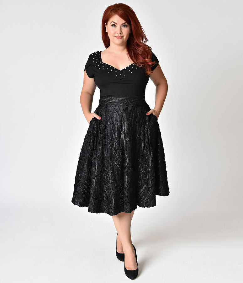 Janie Bryant For Unique Vintage Plus Size 1950s Black Ribbon High Waist Greenwich Swing Skirt