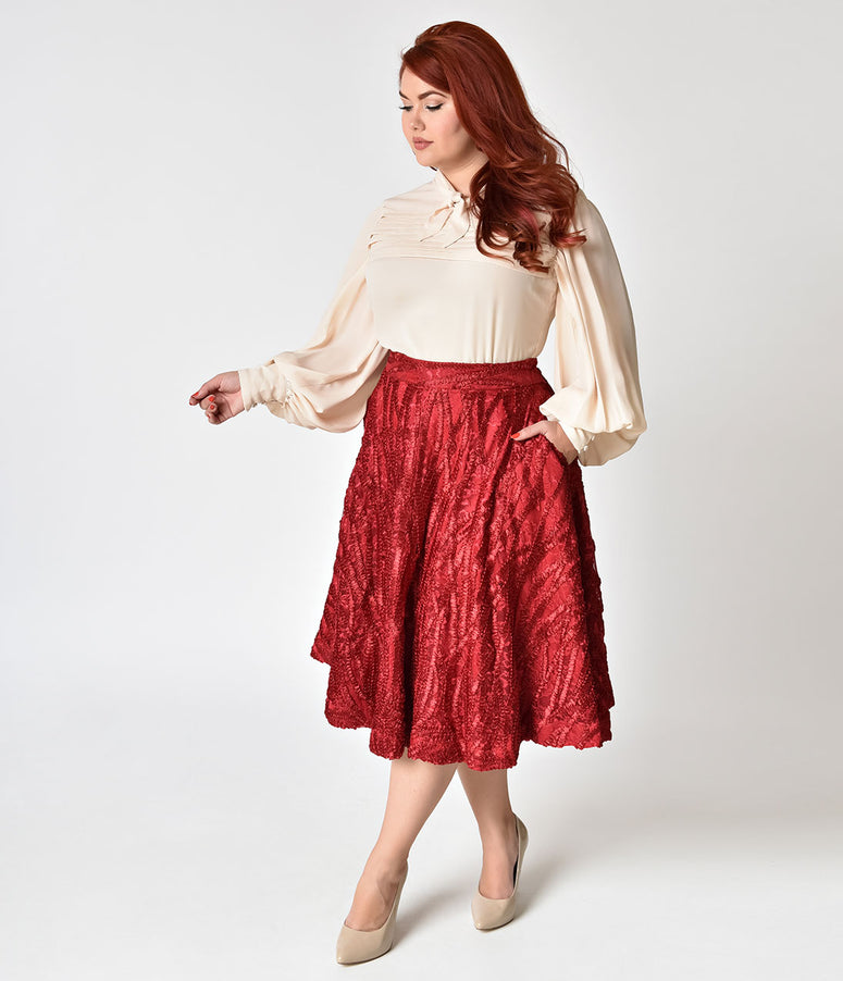 Janie Bryant For Unique Vintage Plus Size 1950s Burgundy Ribbon High Waist Greenwich Swing Skirt