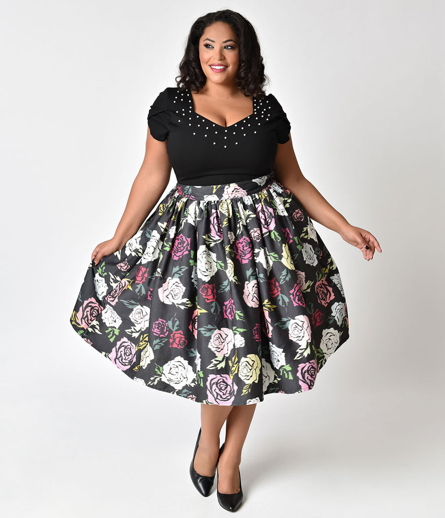 Janie Bryant For Unique Vintage Plus Size 1950s Style Black & Multicolor Roses High Waist Swing Skirt