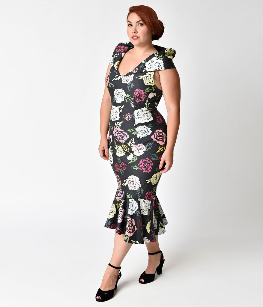 Janie Bryant For Unique Vintage Plus Size 1960s Black & Multi Rose Bobbie Wiggle Dress