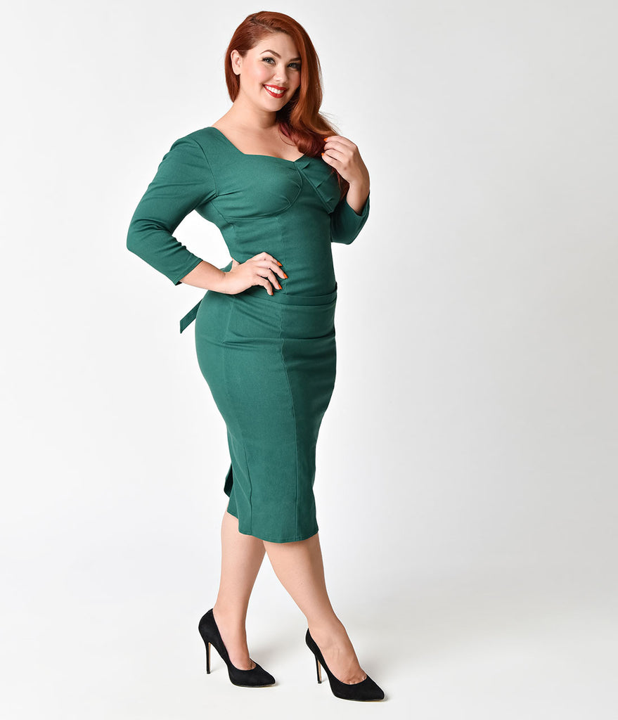 Janie Bryant For Unique Vintage Plus Size 1960s Emerald Sleeved Joanie