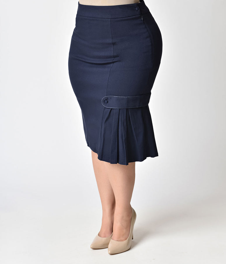 Janie Bryant For Unique Vintage Plus Size 1960s Style Navy Pleated Hildy Pencil Skirt