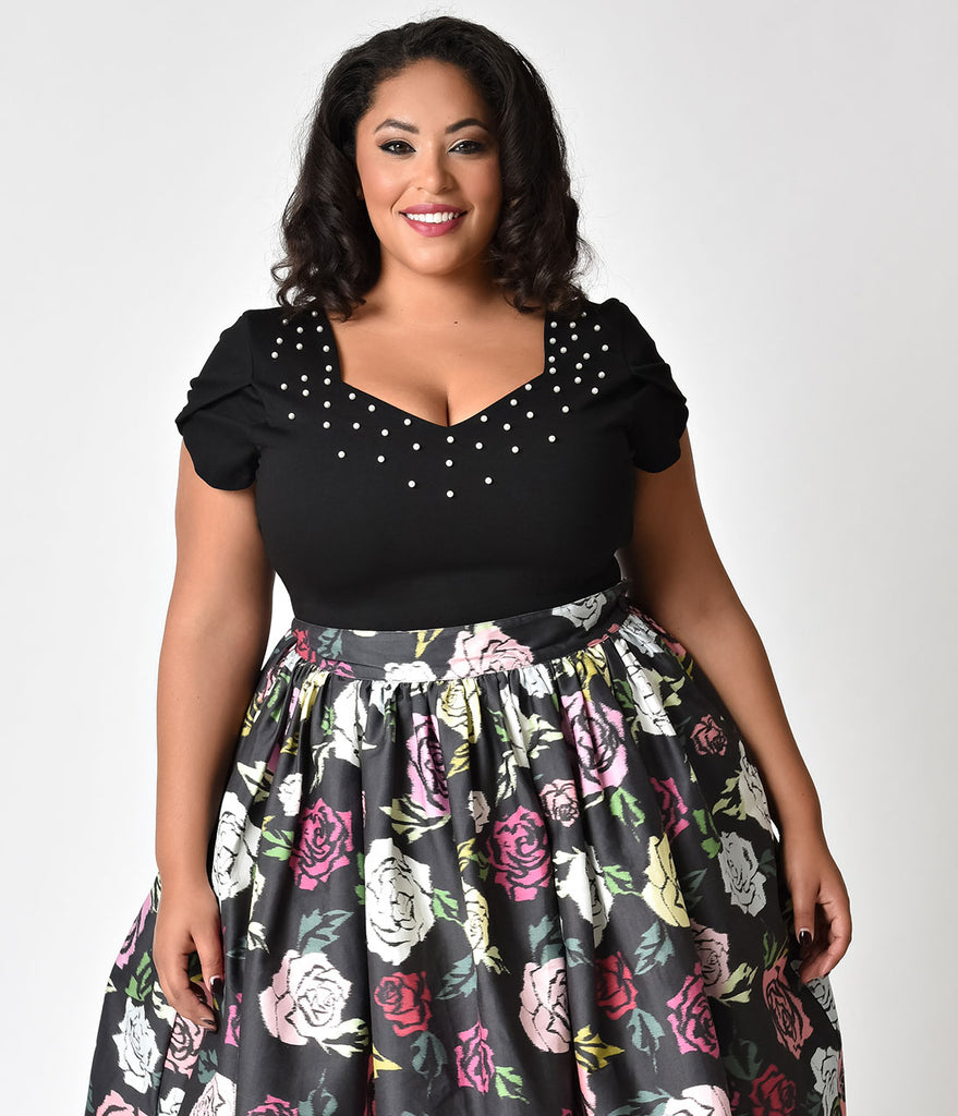 Janie Bryant For Unique Vintage Plus Size Black & Ivory Pearl Nora Short Sleeve Top