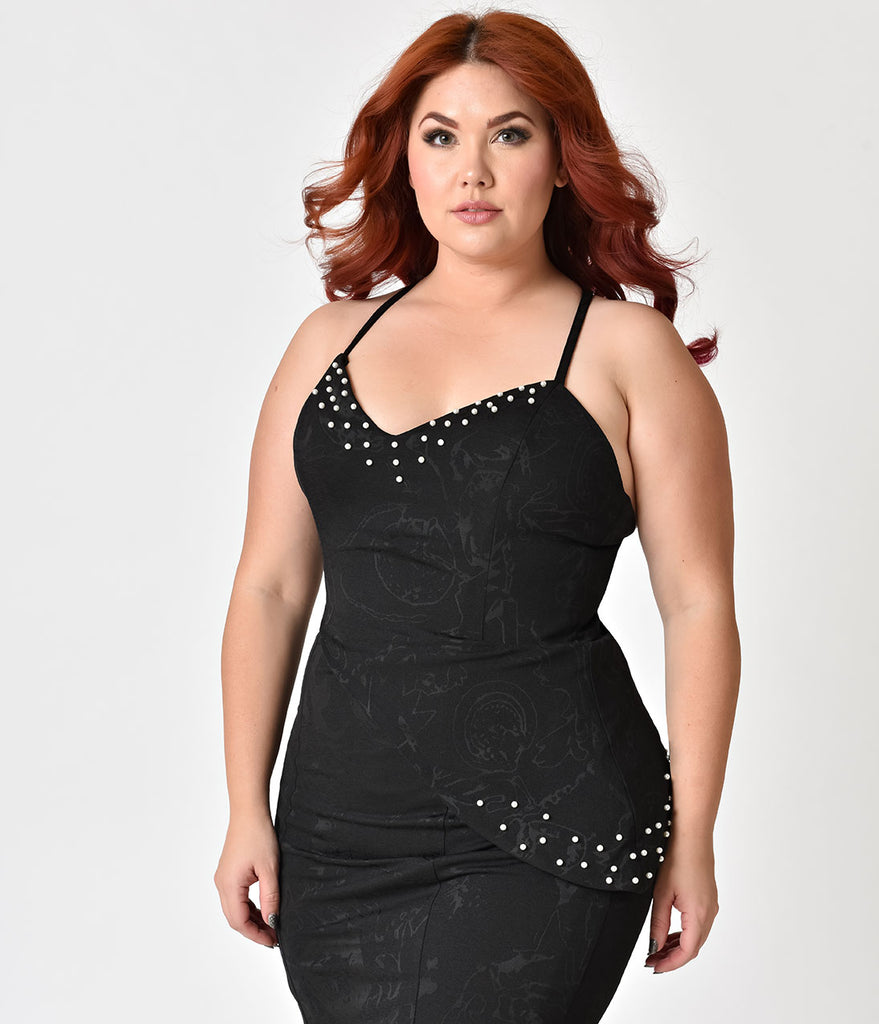 Janie Bryant For Unique Vintage Plus Size Black Sweetheart Pearl Tallulah Wiggle Dress
