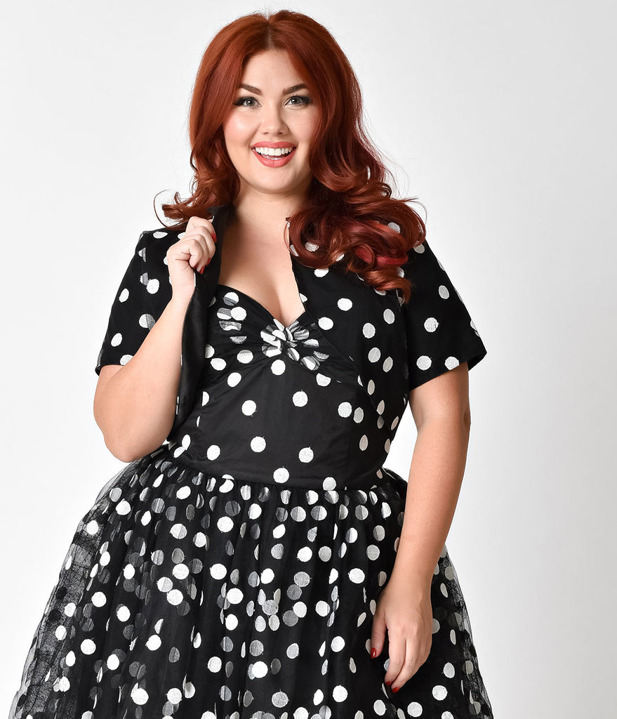 Janie Bryant For Unique Vintage Plus Size Black & White Dot Gertie Bolero
