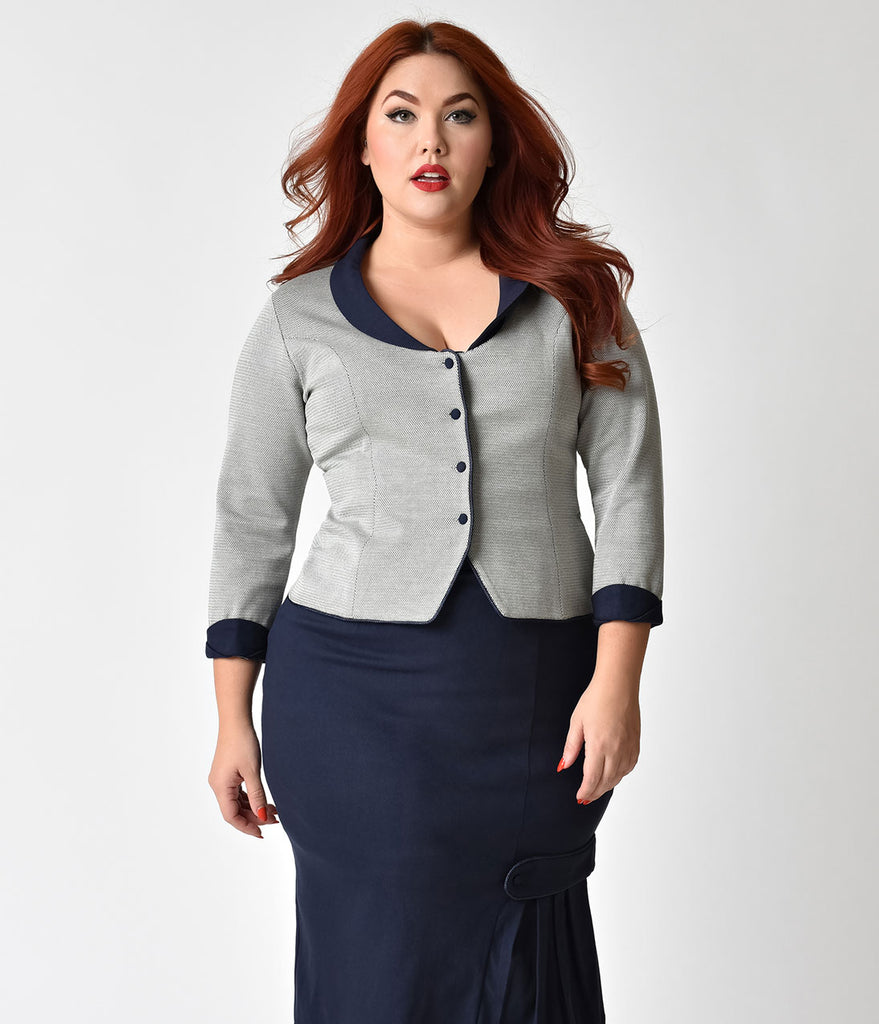 Janie Bryant For Unique Vintage Plus Size Navy & White Chevron Anne Sleeved Jacket