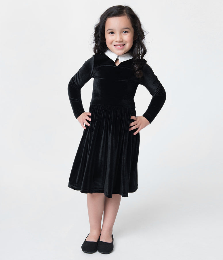 Unique Vintage Black Velvet Wednesday Girls Dress