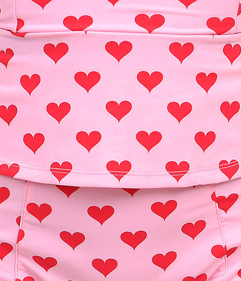 Kingdom & State Pink & Red Heart High Waist Bombshell Swim Bottom