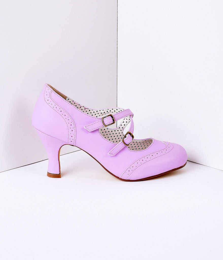 Lavender Faux Leather Detailed Heel