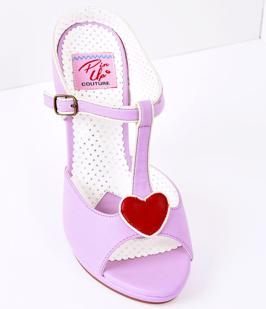 Lavender Faux Leather Heart Detail Sandal