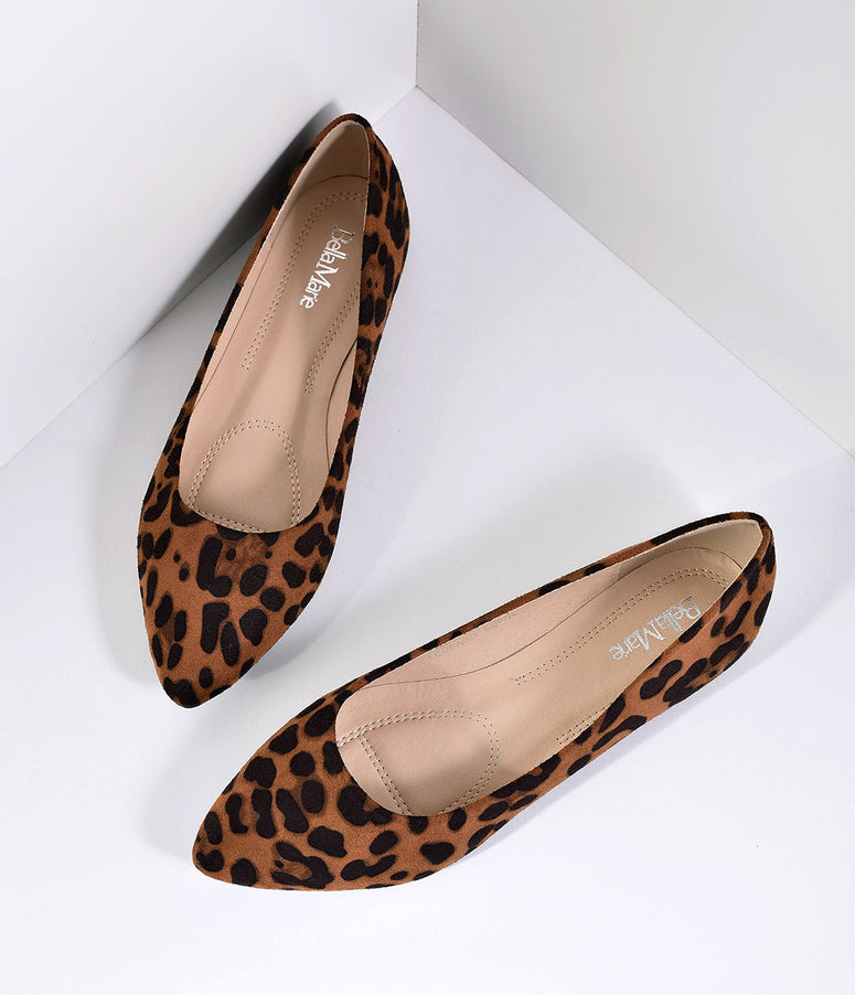 Leopard Print Suede Pointed Toe Flats