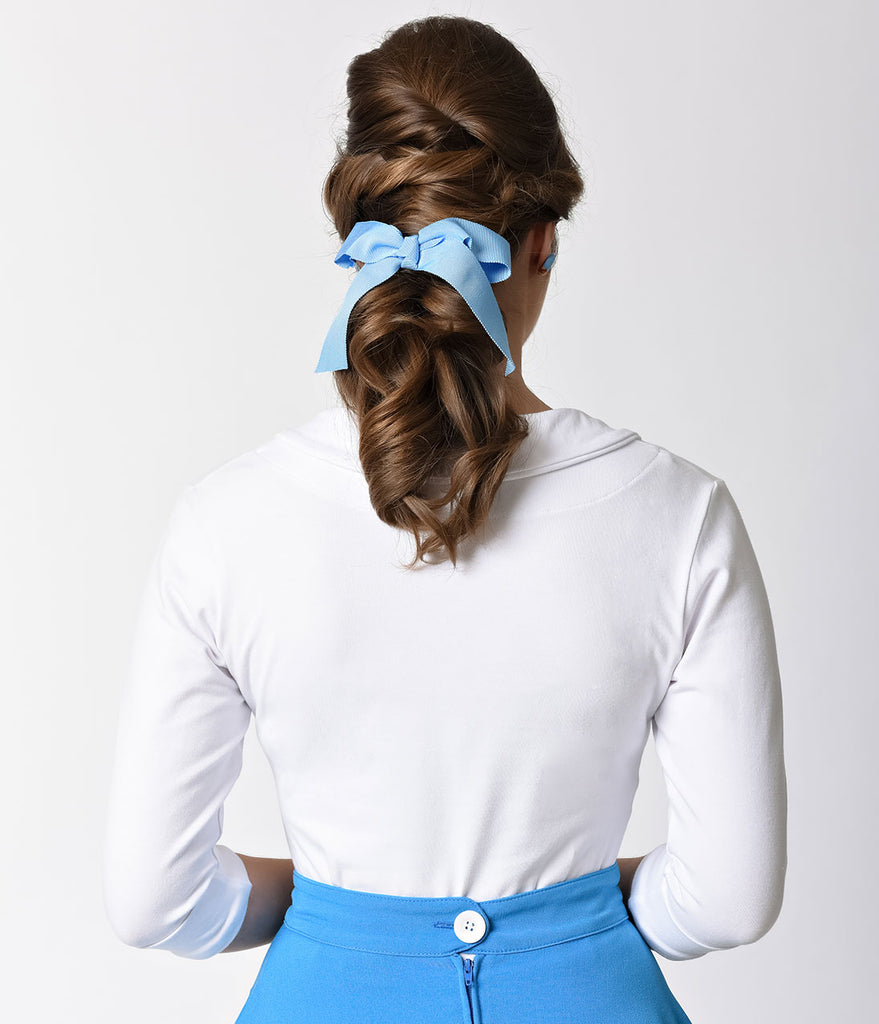 Light Blue Ribbon Bow Hair Clip
