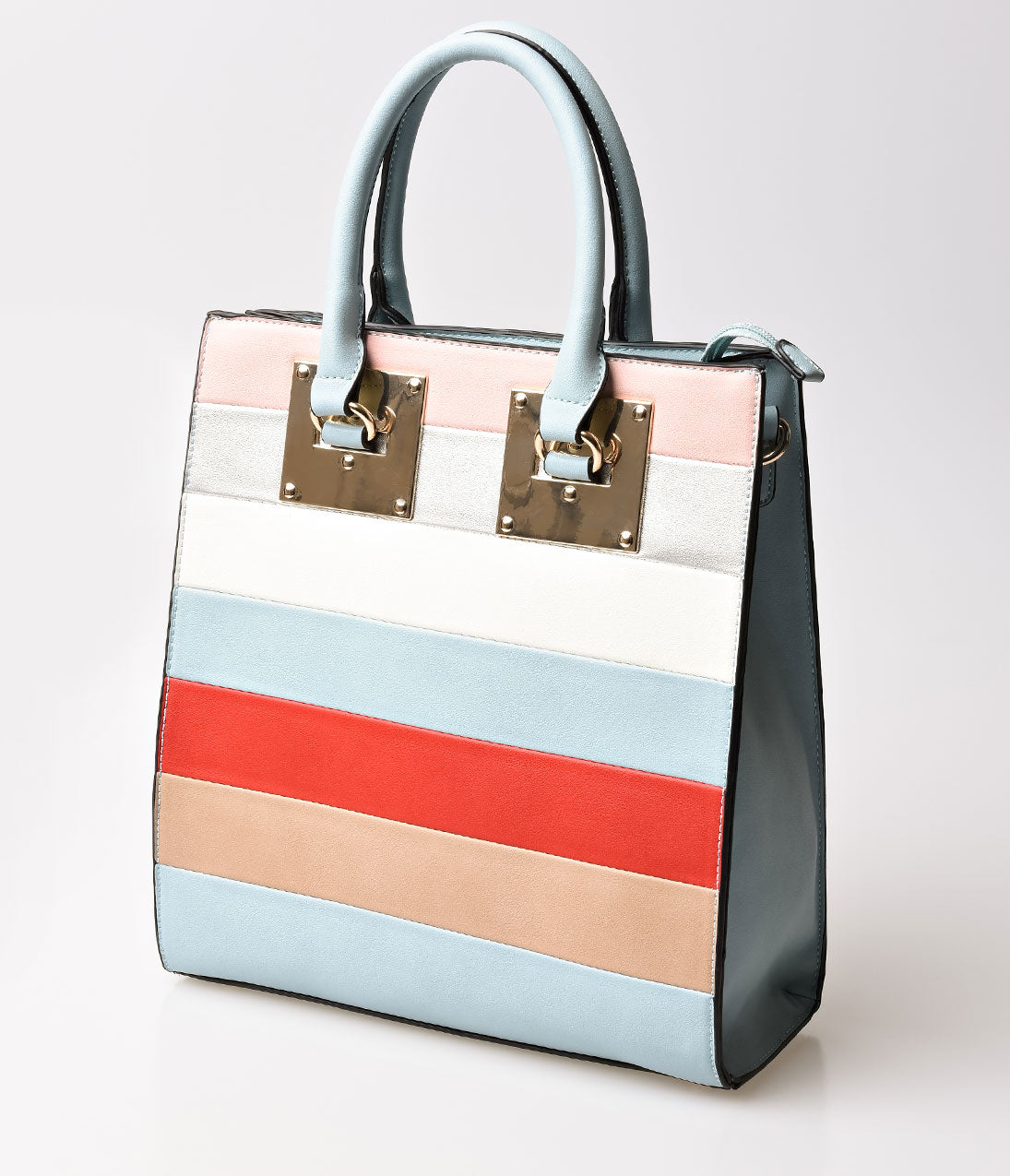 Vintage & Retro Handbags, Purses, Wallets, Bags Light Blue  Stripe Leatherette Structured Handbag $36.00 AT vintagedancer.com