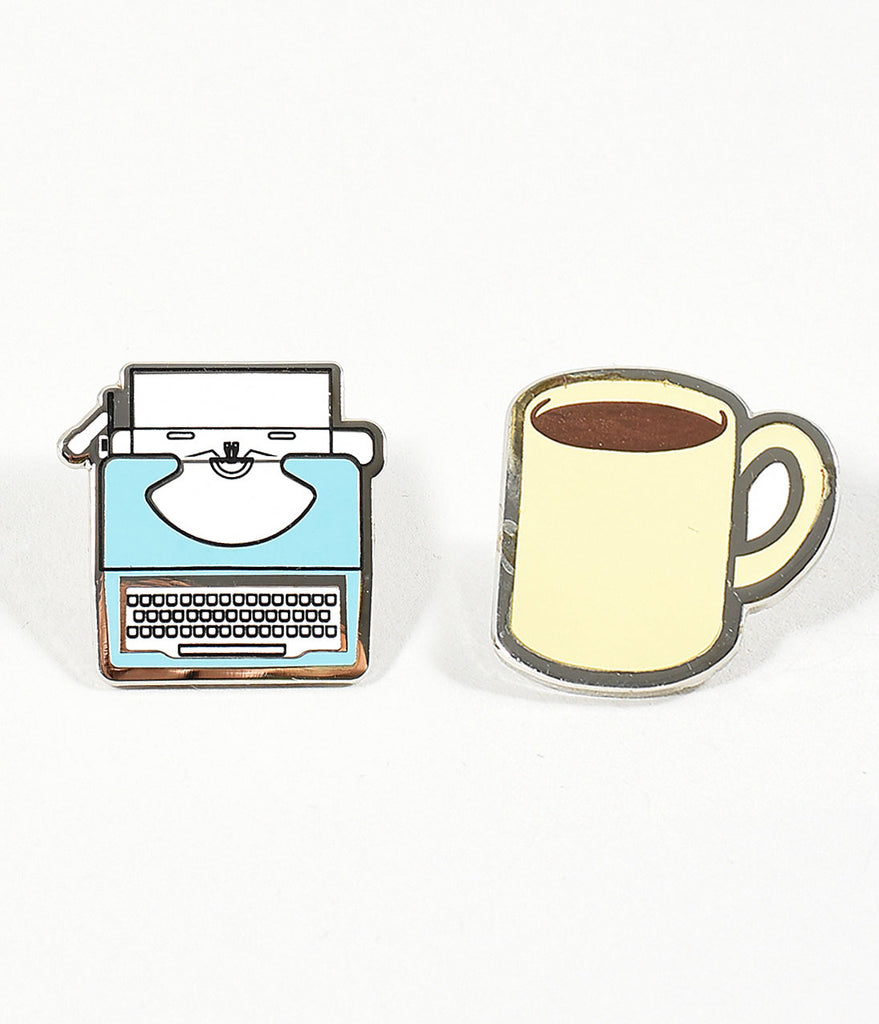 Light Blue Typewriter & Coffee Mug Enamel Pin Set