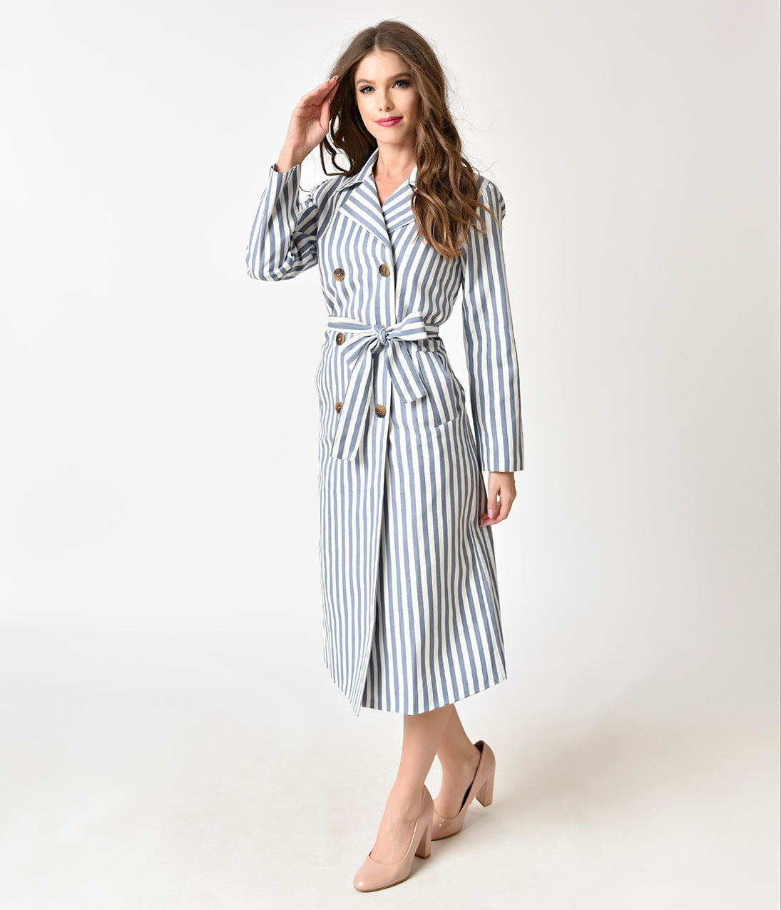 1950s Jackets and Coats | Swing, Pin Up, Rockabilly Light Blue  White Striped Cotton Button Up Coat $92.00 AT vintagedancer.com
