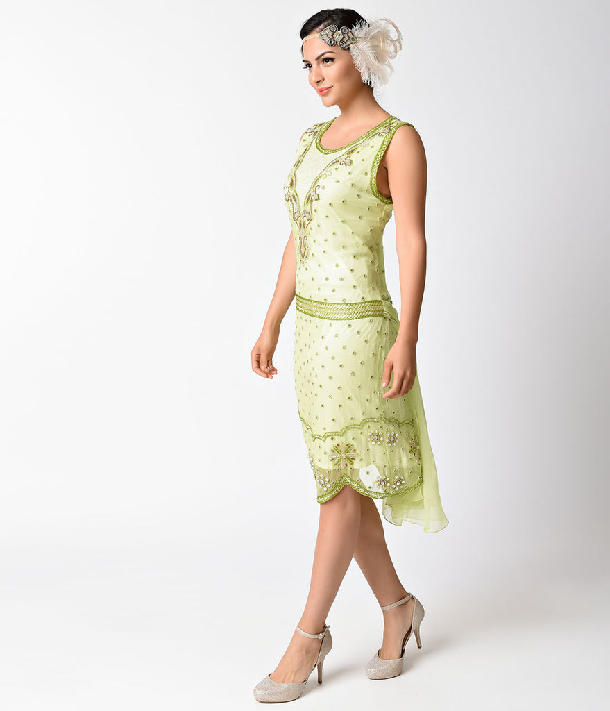 Light Green Beaded Mesh Sleeveless Flapper Dress