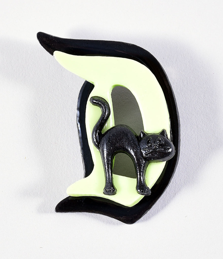 Light Green & Black Scaredy Cat Fairytale Brooch
