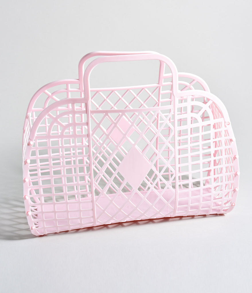 Light Pink Retro Cutout Jelly Plastic Basket