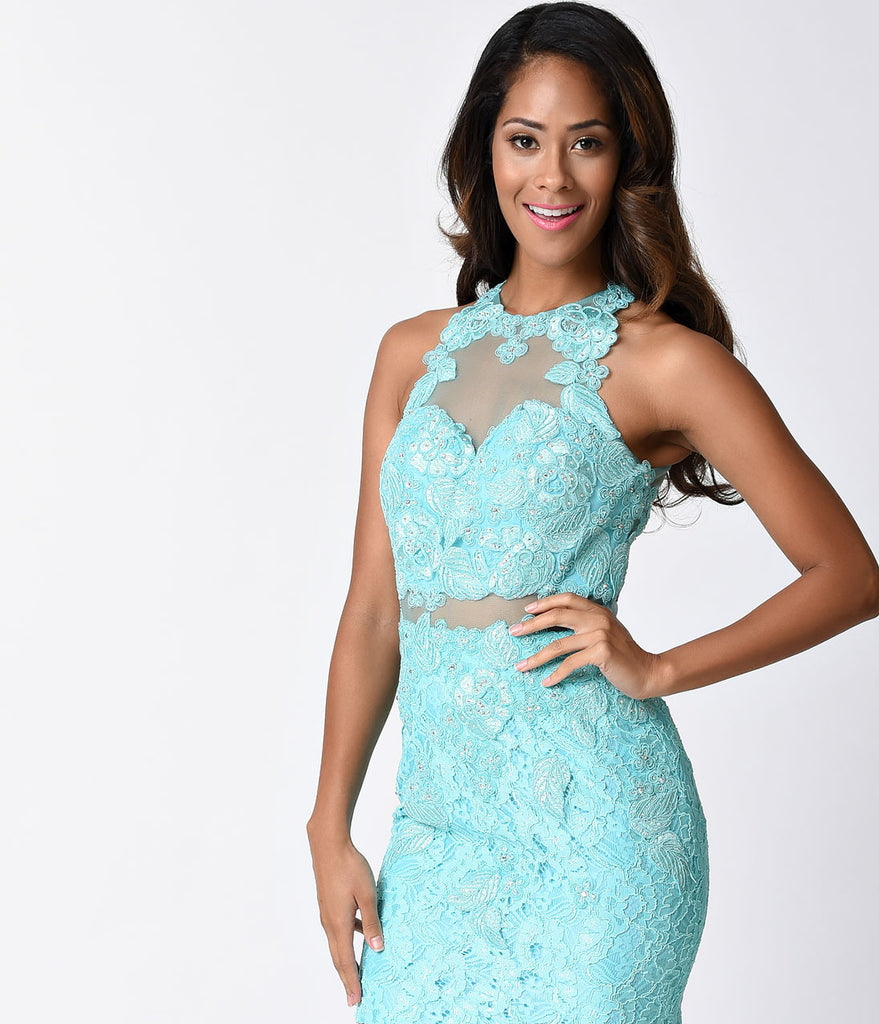 Light Turquoise Lace Sleeveless Illusion Two Piece Fitted Short Dress