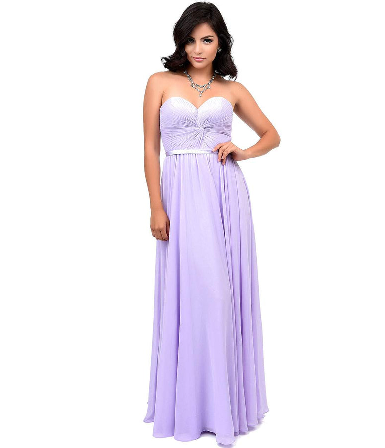 Lilac Chiffon Strapless Sweetheart Corset Long Gown