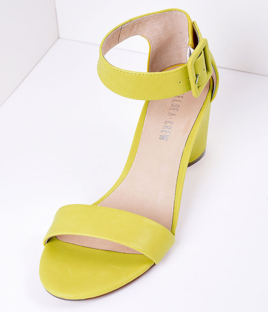 Lime Yellow Leatherette Sandal Buckle Strap Pumps