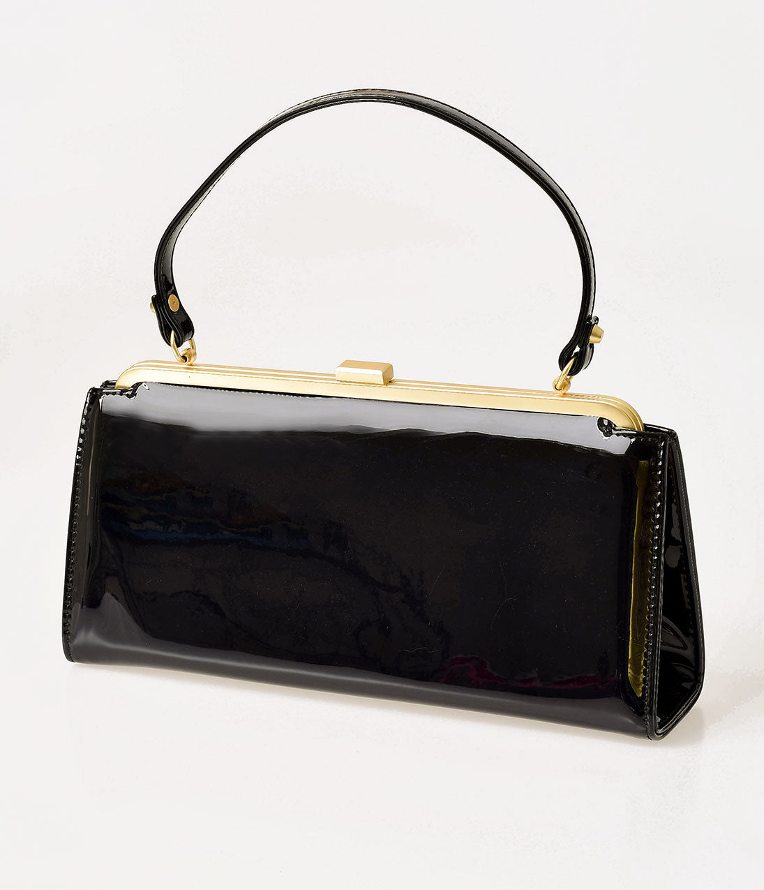 Vintage & Retro Handbags, Purses, Wallets, Bags Lola Ramona Black Patent Leatherette Betty Frame Handbag $92.00 AT vintagedancer.com