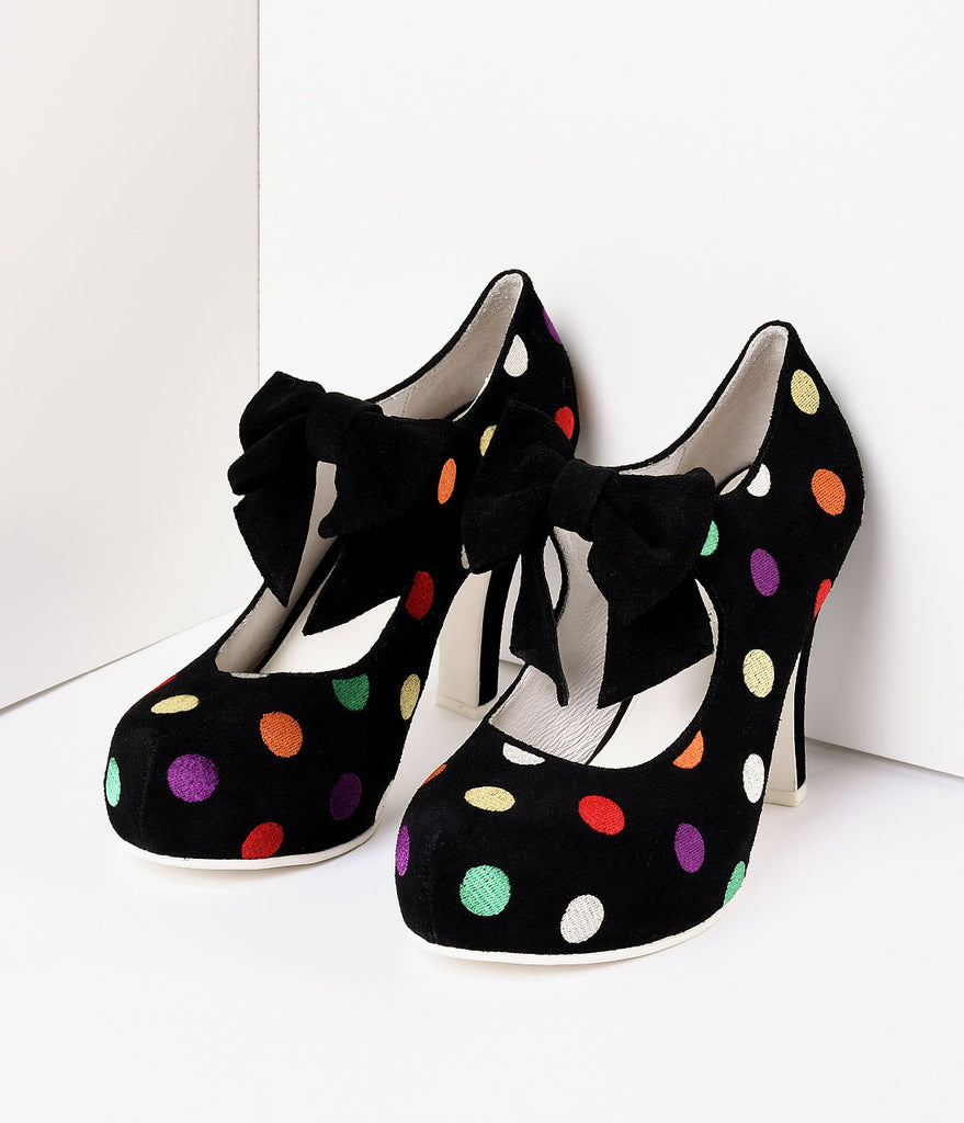 Lola Ramona Black Suede & Multicolor Dots Angie Pumps