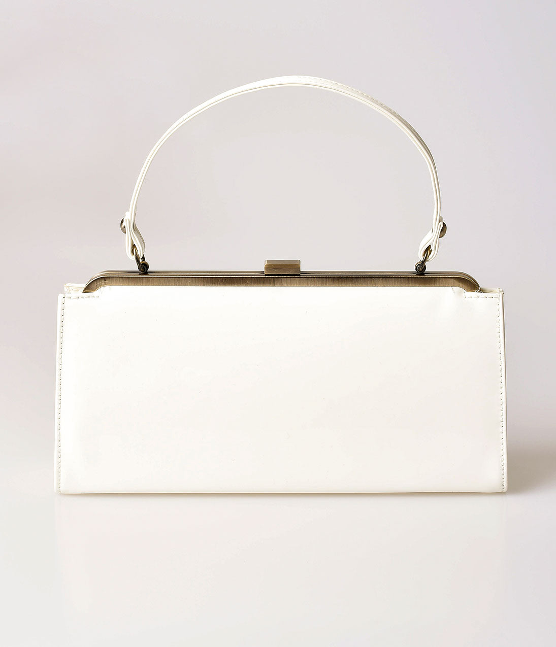 Vintage & Retro Handbags, Purses, Wallets, Bags Lola Ramona Cream Patent Leatherette Betty Frame Handbag $82.00 AT vintagedancer.com