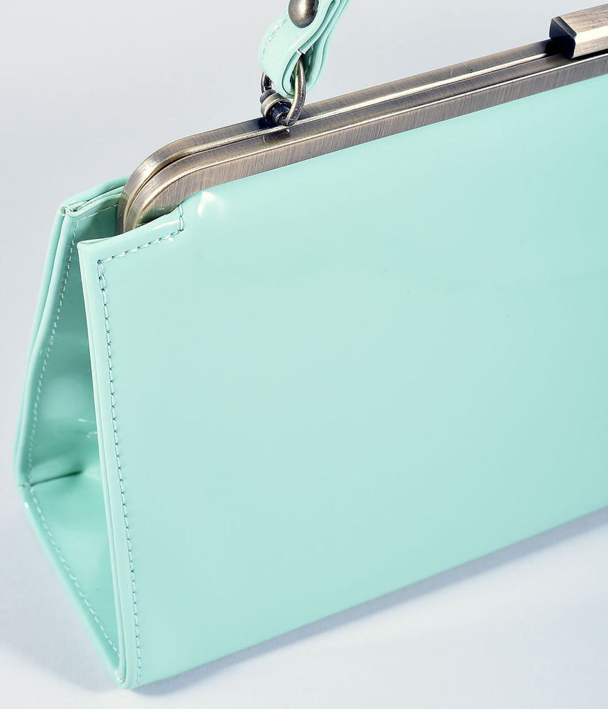 Lola Ramona Mint Patent Leatherette Betty Frame Handbag