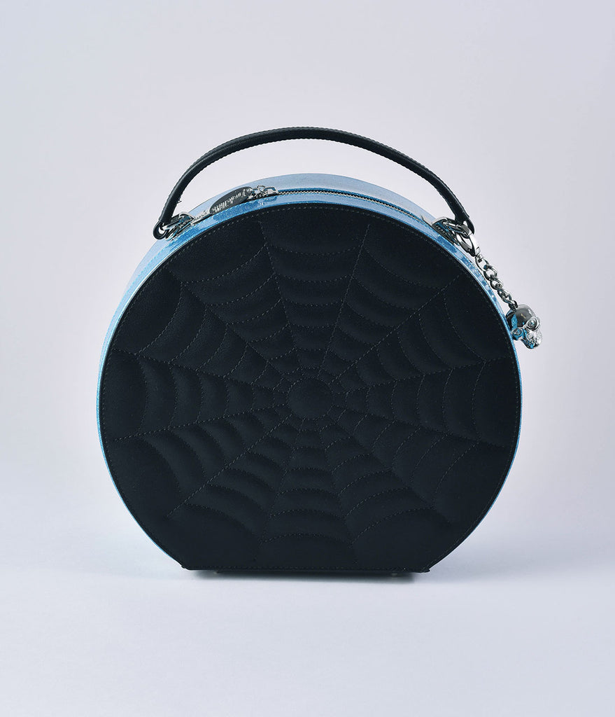 Lux De Ville Blue Sparkle & Black Widow Villain Hatbox