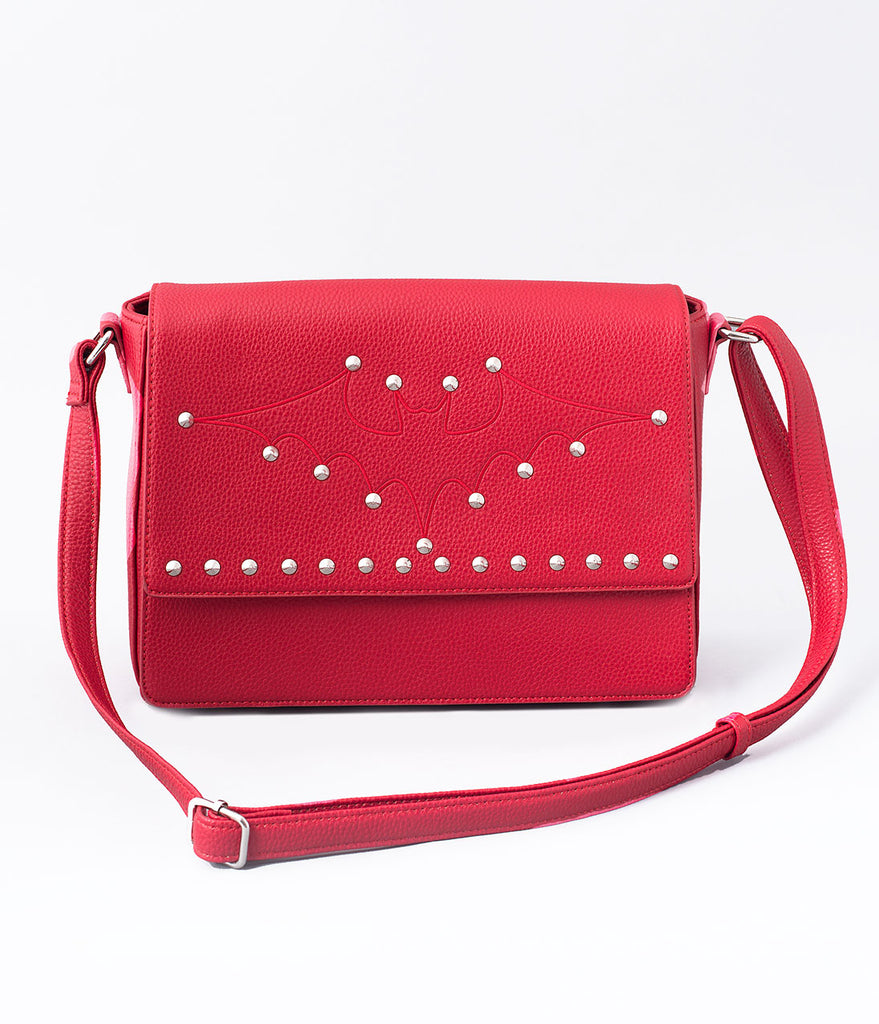 Lux De Ville Red Leatherette Matte Elvira Bat Purse