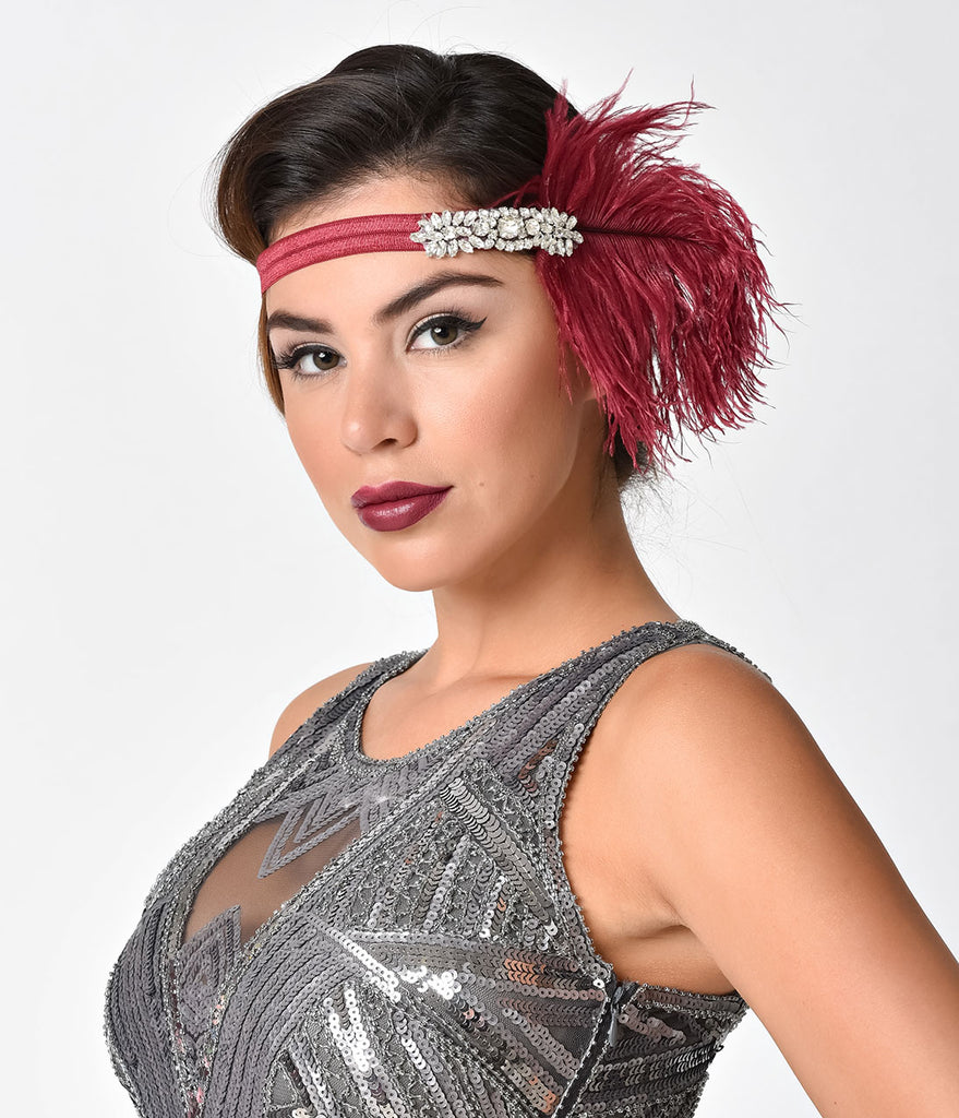 Magenta & Silver Rhinestone Feather Lizzie Headband