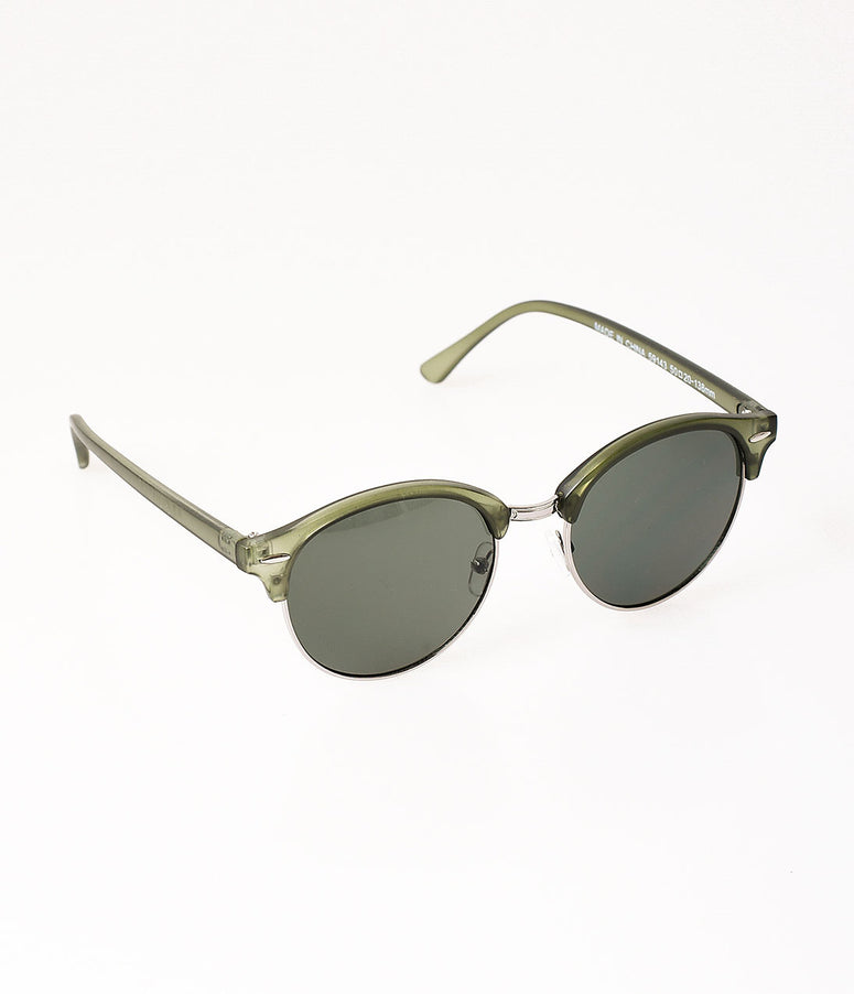 Matte Olive Green Aviator Digging It Round Sunglasses
