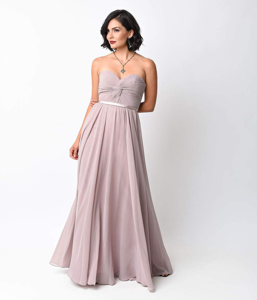 Strapless Sweetheart Chiffon Dress