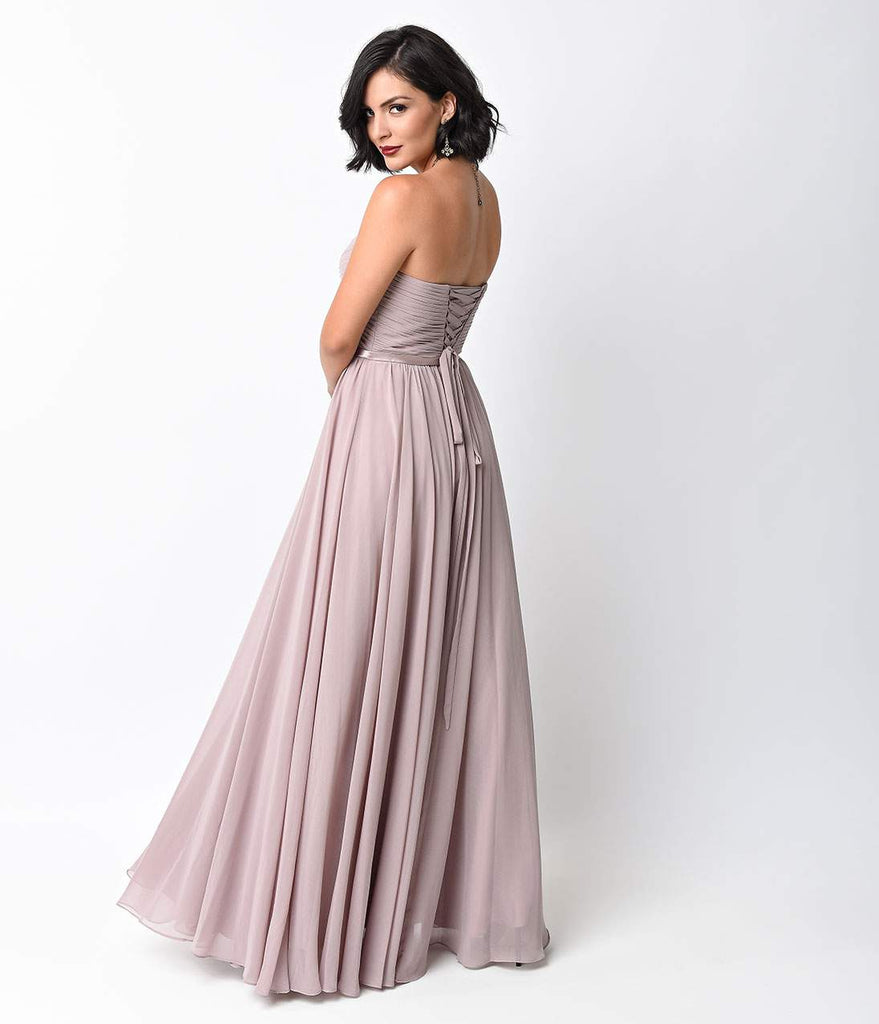 Mauve Chiffon Strapless Sweetheart Corset Long Gown