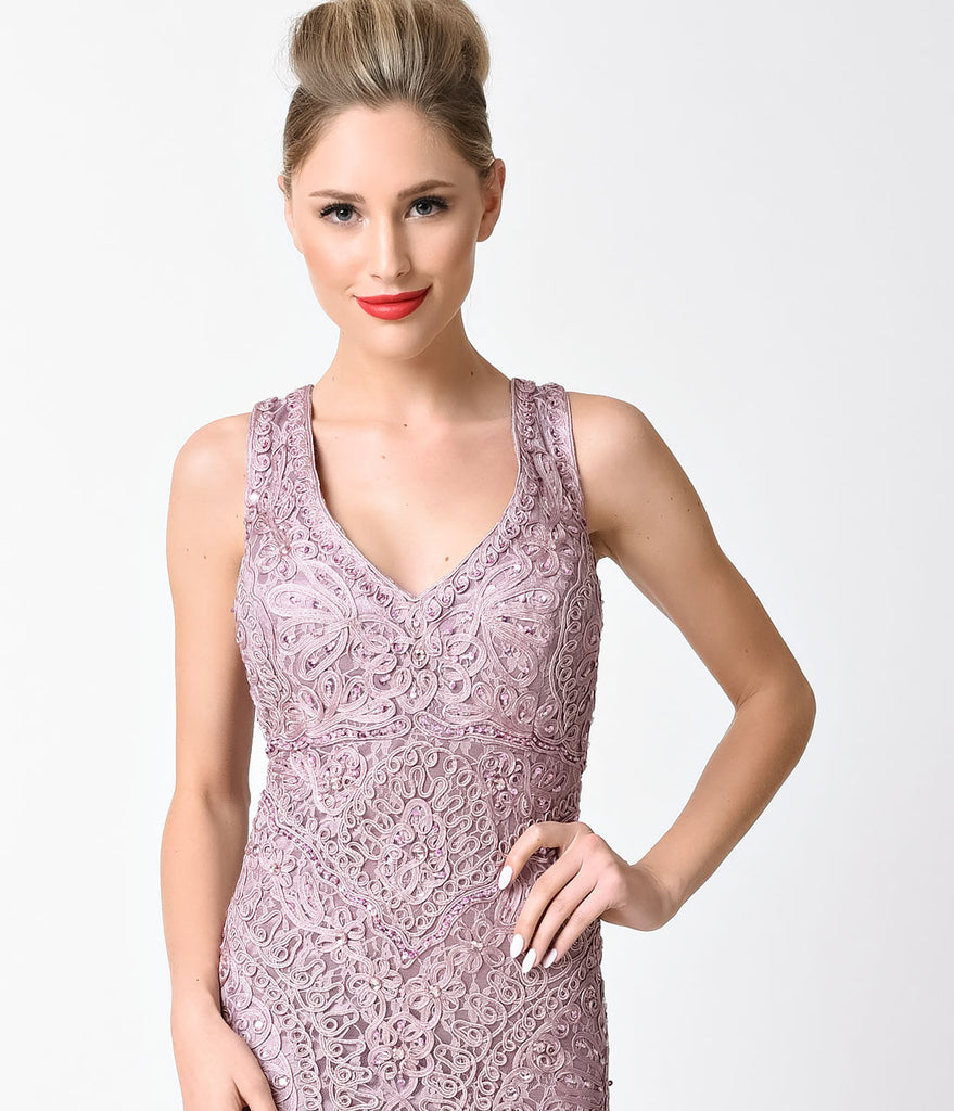 Mauve Midi Lace V Neck Embellished Dress