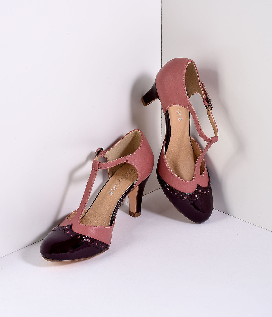 Vintage Style Shoes, Vintage Inspired Shoes Mauve Pink  Burgundy Gatsby T-Strap Pumps $64.00 AT vintagedancer.com