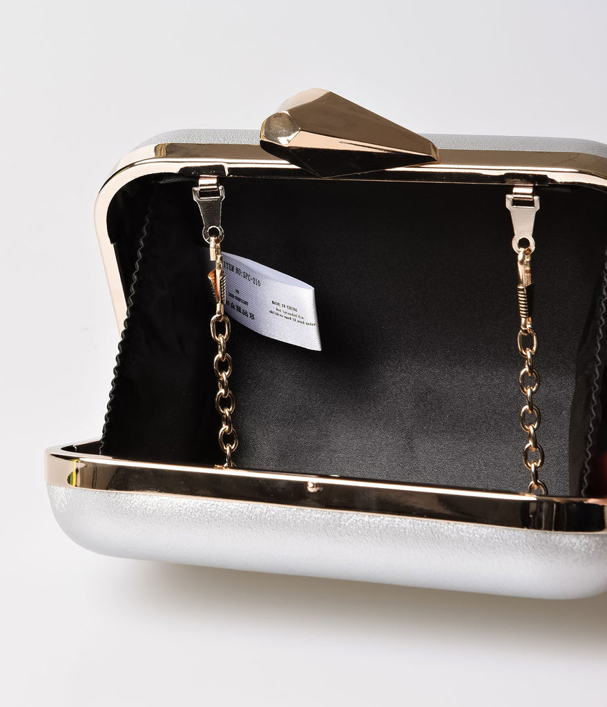 Metallic Silver Pleather & Gold Top Lock Hard Clutch