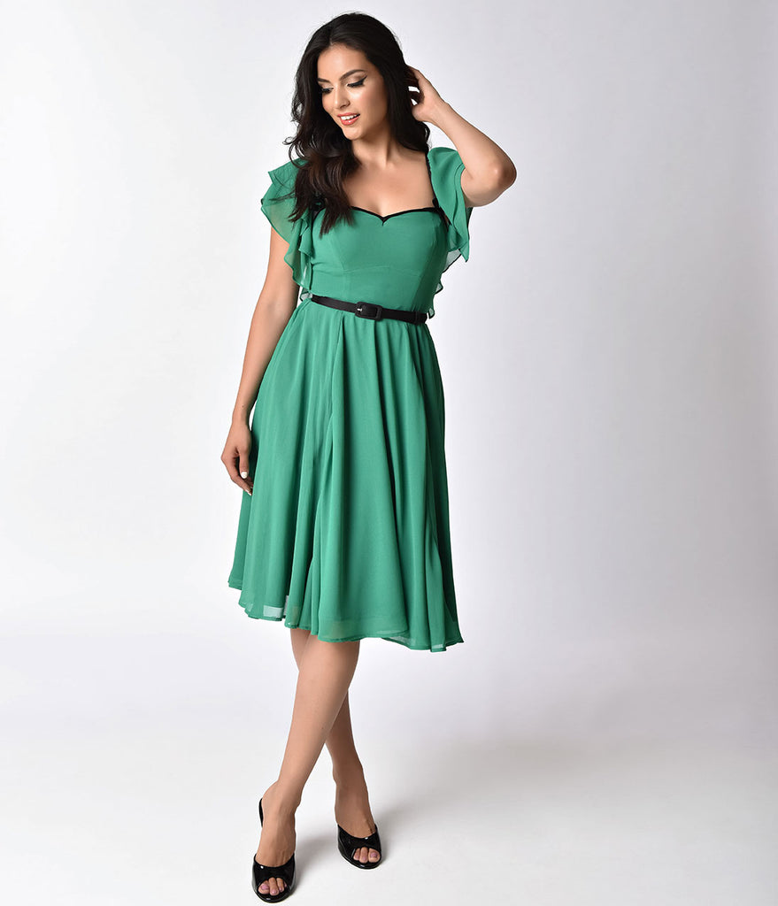 Micheline Pitt For Unique Vintage Green Chiffon Carmelita Swing Dress